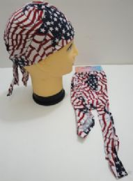 48 Units of Wholesale Skull Caps Motorcycle Hats Fabric American Flag Print Stars & Stripes - Bandanas