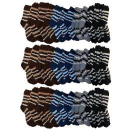 36 Pairs of Kids Fuzzy Socks, Assorted Childrens Soft Plush Warm Winter Sock Bulk Pack, by WSD (Dark Stripes) - Boys Crew Sock