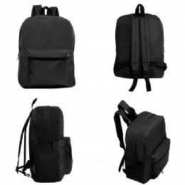 "24 Units of 15"" Wholesale Basic Black Backpack - Backpacks 15"" or Less"