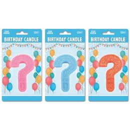 144 Units of Birthday Glitter Candle Question Mark - Birthday Candles