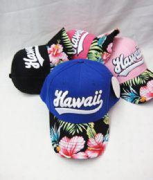 36 Units of Hawaii Floral Printed Kids Cap Assorted Colors - Kids Baseball Caps