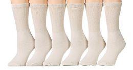 6 Pair Of excell Ladies Diabetic Neuropathy Socks, Sock Size 9-11 (Tan) - Womens Crew Sock