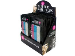 108 Units of Glitter Nail File Set Counter Top Display - Manicure and Pedicure Items