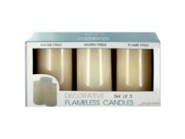 6 Units of Decorative Flameless Vanilla Pillar Candles - Candles & Accessories
