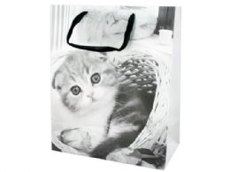 72 Units of Large Black & White Puppies & Kittens Gift Bag - Gift Bags
