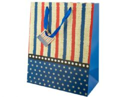 144 Units of Large Stars & Stripes Gift Bag - Gift Bags