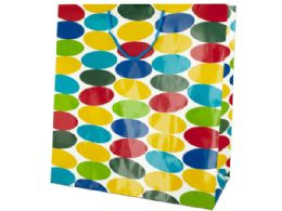 72 Units of Extra Large Multi-Colored Dots Gift Bag - Gift Bags