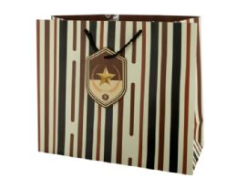 72 Units of Large Striped Gift Bag with Star Tag - Gift Bags