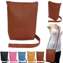 36 Units of Large Faux Ostrich Cross Body Bucket Bag - Shoulder Bags & Messenger Bags