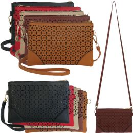 36 Units of Horizontal Cross Body Bag With Laser Cut Out Design In Faux Leather. - Shoulder Bags & Messenger Bags