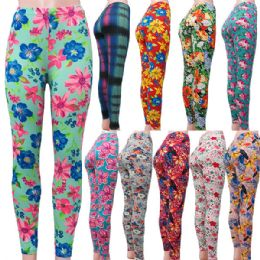 "60 Units of ""Soft Feel"" full length floral design leggings in assorted prints. - Womens Leggings"