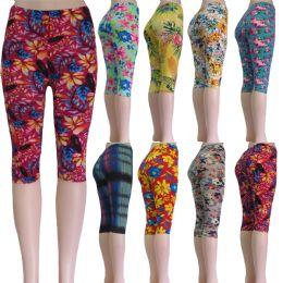 "48 Units of ""Soft Feel"" below the knee capri length leggings in assorted prints including floral and aztec - Womens Leggings"