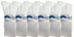 6 Units of Yacht & Smith Women's Cotton Diabetic Non-Binding Crew Socks - Size 9-11 White - Womens Crew Sock