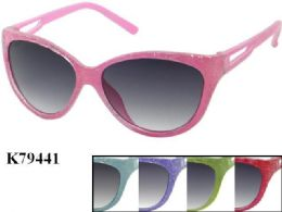 48 Units of Kids Plastic Frame Sparkle Sun Glasses Assorted Color - Eyeglass & Sunglass Cases