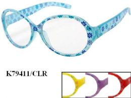 48 Units of Kids Plastic Frame Floral Eye Glasses Assorted Color - Eyeglass & Sunglass Cases