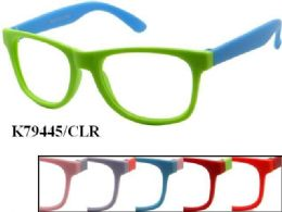 48 Units of Kids Plastic Frame Two Tone Eye Glasses Assorted Color - Eyeglass & Sunglass Cases