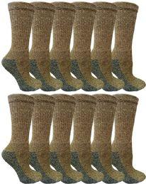 240 Units of Women's 2 Tone Ring Spun Cotton Brown Crew Socks Size 9-11 - Womens Crew Sock