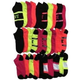 30 Pairs of WSD Womens Ankle Socks, Low Cut Sports Sock - Assorted Styles (Varsity Prints) - Womens Ankle Sock