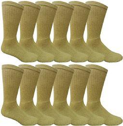 240 Units of Mens Ringspun Cotton Ultra Soft Crew Sock Khaki - Mens Crew Socks