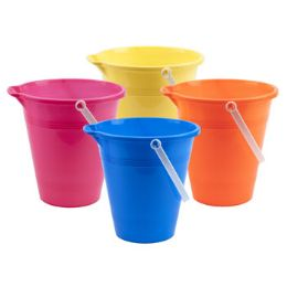 72 Units of Plastic Sand Bucket In Assorted Colors - Beach Toys