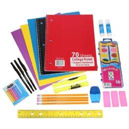24 Units of Wholesale Kids 18 piece School Supply Kit - Notebooks