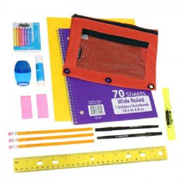 24 Units of Wholesale Kids 12 piece School Supply Kit - Notebooks