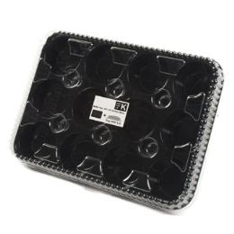 72 Units of 13x9.6in 12 Section Plastic Cupcake/ Muffin Serving Tray W/black Base Clear Lid Reusable/upc - Kitchen Trays