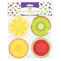 48 Units of 8 Pack Fruit Design Paper Coaster - Coasters & Trivets