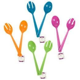 72 Units of 2pc 11.5inl Serving Spoon Set in 4asst Summer Clrs/plastic/ht - Plastic Serving Ware