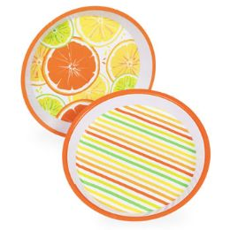36 Units of Melamine Citrus 11.75in Serving Tray in 2 asst Patterns - Serving Trays