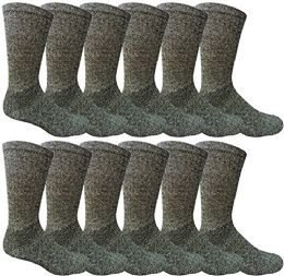 12 Pairs Value Pack of Wholesale Sock Deals Mens Ringspun Cotton 2Tone Twisted Socks, Navy Blue - Mens Crew Socks
