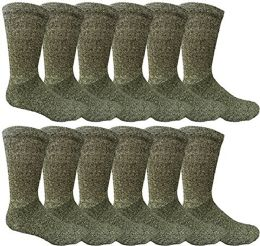 12 Pairs Value Pack of Wholesale Sock Deals Mens Ringspun Cotton 2Tone Twisted Socks, Black - Mens Crew Socks