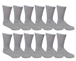 12 Units of 12 Pairs Value Pack Of Wholesale Sock Deals Mens Ringspun Cotton 2tone Twisted Socks, Gray - Mens Crew Socks