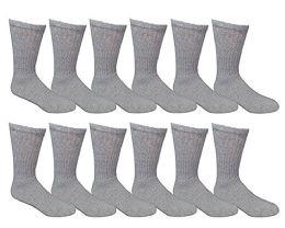 12 Pairs Value Pack of Wholesale Sock Deals Mens Ringspun Cotton 2Tone Twisted Socks, Gray - Mens Crew Socks