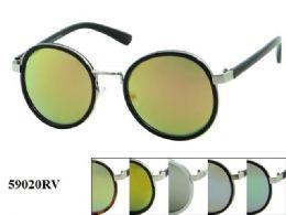 48 Units of Round Plastic Rv Sunglasses Assorted - Eyeglass & Sunglass Cases