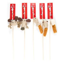 70 Units of Cat Toy Wooden Wand With Bell 5 Styles - Pet Toys