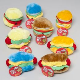 72 Units of Plush Hot Dog & Hamburger Dog Toy With Squeaker In Pdq Hang Tag - PET TOYS