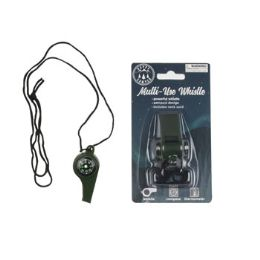 48 Units of Whistle MultI-Use Emergency W/compass & Thermometer Black Camping Blister Card - Camping Gear