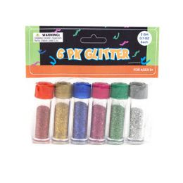 36 Units of Mini Tube Glitter In 6 Assorted Colors - Craft Glue & Glitter
