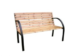 3 Units of Solid Wood & Steel Park Bench - Garden Decor
