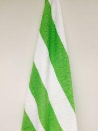 12 Units of Heavier Weight Cabana Stripe Beach Towel Premium Size 30x70 - Beach Towels