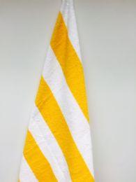12 Units of Heavier Weight Cabana Stripe Beach ToweL- Size 30x70 - Beach Towels