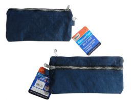 144 Units of 2-Pocket Zippered Pencil Pouch - Pencil Boxes & Pouches