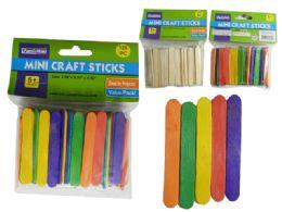 144 Units of 120pc Mini Craft Sticks, Wood & Color - Craft Kits