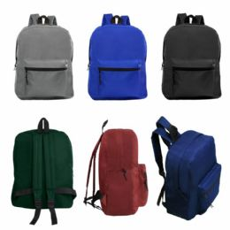 """24 Units of 15"""" Kids Basic Backpack In 6 Assorted Colors - Backpacks 15"""" or Less"""