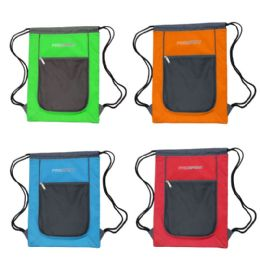 """24 Units of Drawstring Bags In 4 Assorted Colors - Backpacks 15"""" or Less"""
