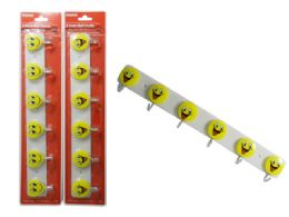 144 Units of 6-Hook Smiley Face Design Wall Hooks - Hooks