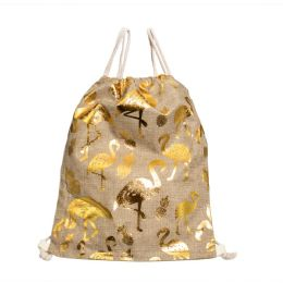 24 Units of Metallic Flamingo Print Bulk Drawstring Backpacks In Gold and Silver - Draw String & Sling Packs