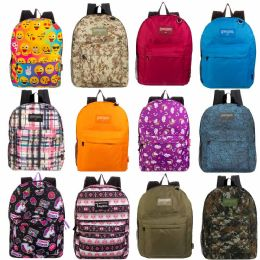 """24 Units of 17"""" Kids Classic Padded Backpacks In 8 to 12 Randomly Assorted Unique Prints - Backpacks 17"""""""