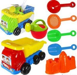 6 Units of 7 Piece Toy Dump Truck & Sand Toys - Beach Toys